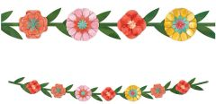 Bright Florals Paper Garland, 6ft 4""