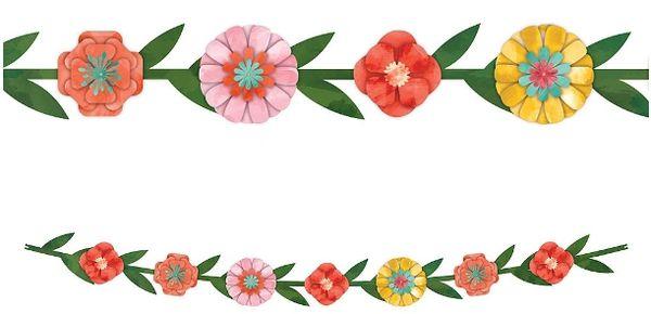 "Bright Florals Paper Garland, 6ft 4"""