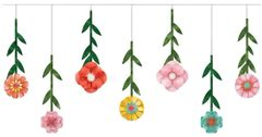 Bright Florals Paper Hanging Flower Decorations, 10ft