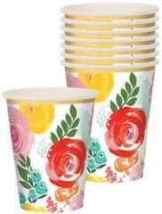 Bright Florals Paper Cups, 12 oz - 8ct