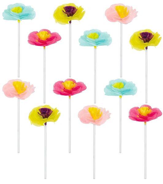 Bright Floral Cupcake Picks, 12ct