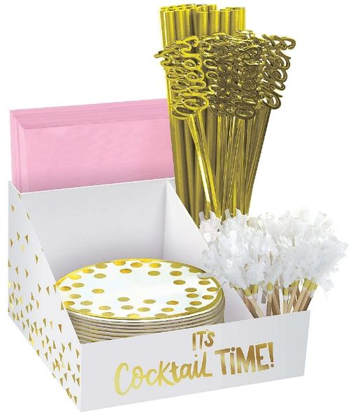 Cocktail Party Metallic Gold Bar Caddy