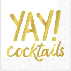 "Metallic Gold ""Yay!"" Cocktails Beverage Napkins, 16ct"