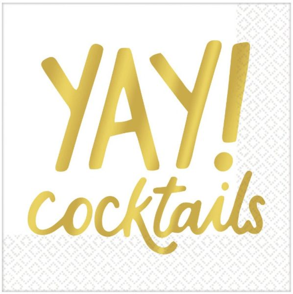 "Metallic Gold ""Yay!"" Cocktails Beverage Napkins, 16ct"