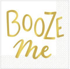 Metallic Gold Booze Me Beverage Napkins, 16ct