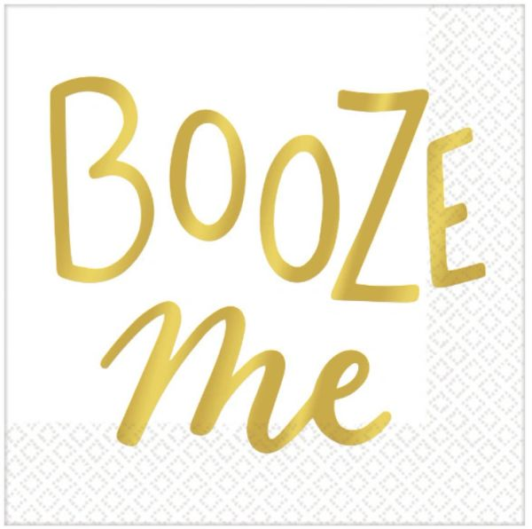 Metallic Gold Booze Me Beverage Napkins, 16ct