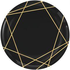 """Black Metallic Gold Line Premium Dessert Plates, 7 1/2"""" - 20ct"""