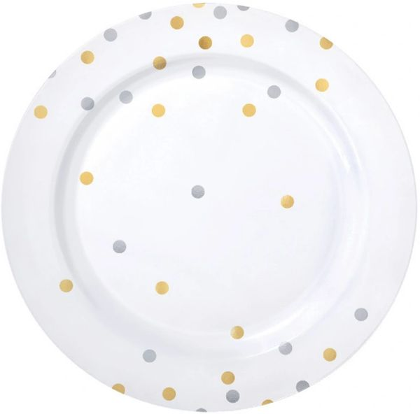 """Gold/Silver Confetti Plastic Dinner Plates, 10 1/2"""" - 10ct"""