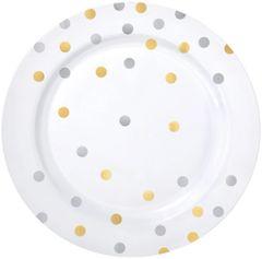 """Gold/Silver Confetti Plastic Dessert Plates, 7 1/2"""" - 20ct"""