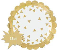 "Metallic Gold Scalloped Dessert Plates, 5 3/4"" - 36ct"