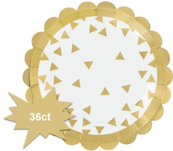 "Metallic Gold Scalloped Dessert Plates, 5 3/4"" - 36ct"