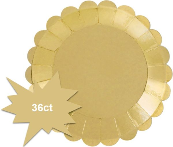 "Cocktail Party Round Scalloped Foil Appetizer Plates, 4"" - 36ct"