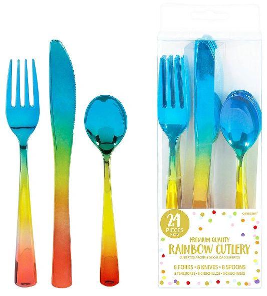 Rainbow Confetti Cutlery Asst. - Iridescent Plastic, 24ct