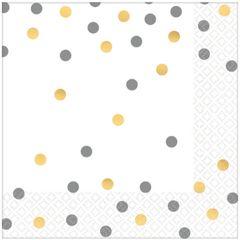 Gold/Silver Confetti Luncheon Napkins, 16ct