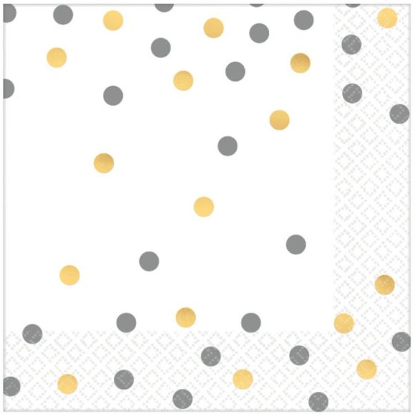 Gold/Silver Confetti Luncheon Napkins, 16ct