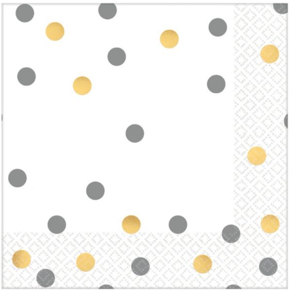 Gold/Silver Confetti Beverage Napkins, 16ct