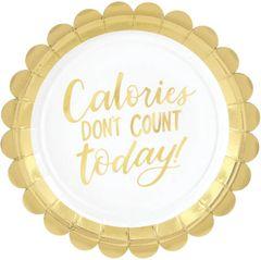 "Metallic Gold Calories Scalloped Dessert Plates, 7 "" - 8ct"