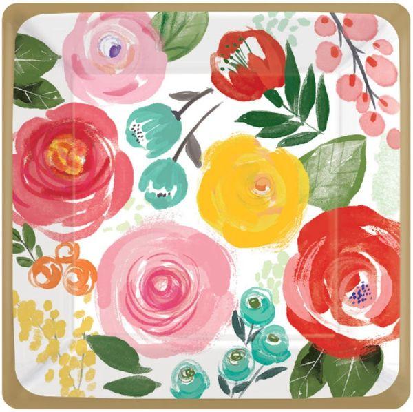 """Bright Florals Dessert Plates, 7"""" - 8ct"""