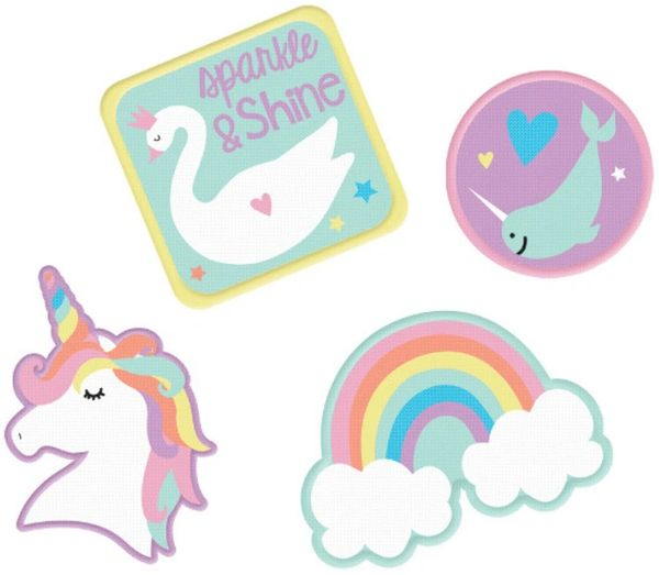 Magical Rainbow Birthday Embroidered Patches, 4ct