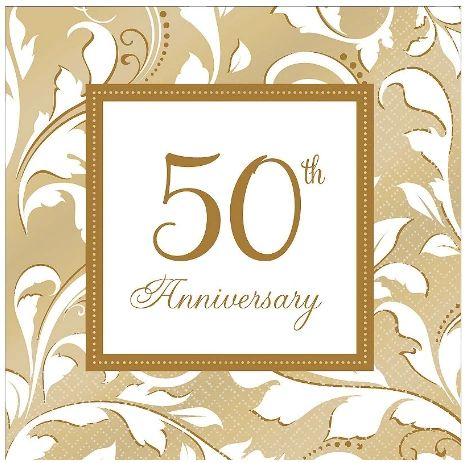 Golden 50th Anniversary Lunch Napkins, 16ct
