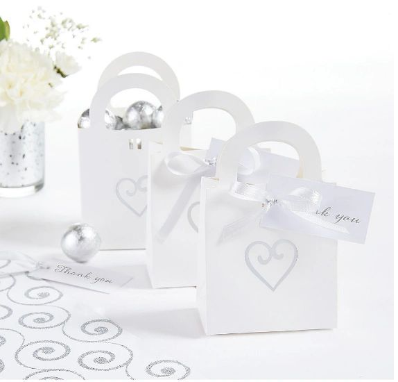 White Heart Wedding Favor Bag Kit, 50ct