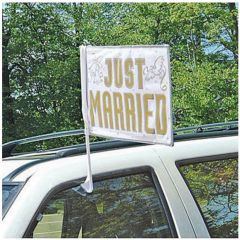 """JUST MARRIED"" Wedding Car Flag"