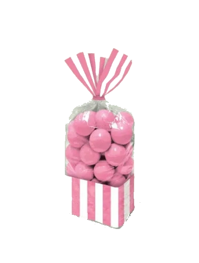 New Pink Striped Party Bags, 10ct