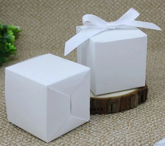 White Wedding Favor Boxes, 100ct