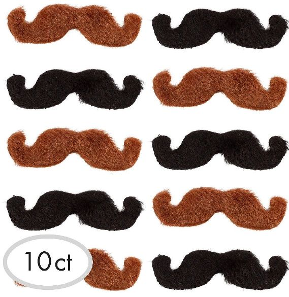 Black & Brown Western Moustaches, 10ct