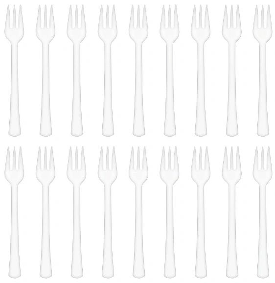 Mini White Plastic Forks, 40ct