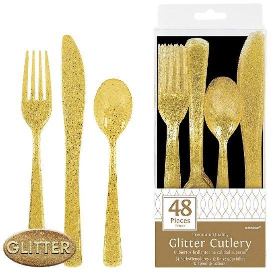 Glitter Cutlery Asst. - Gold, 48ct