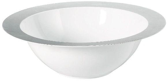 Bowl - White w/ Silver Rim