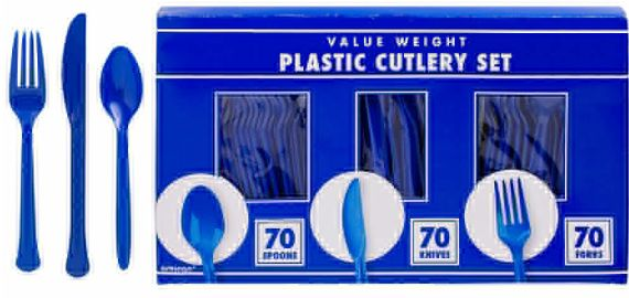 Big Party Pack Bright Royal Blue Value Window Box Cutlery, 210ct