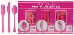 Big Party Pack Bright Pink Value Window Box Cutlery Set, 210ct