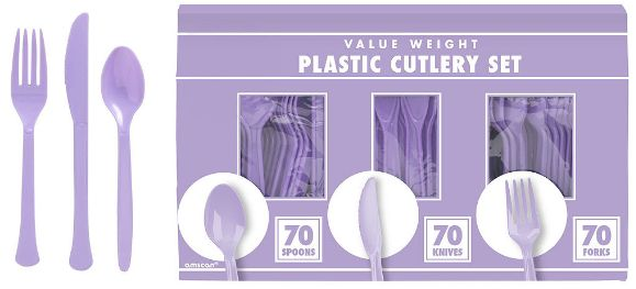Big Party Pack Lavender Window Box Cutlery Set, 210ct