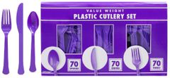 Big Party Pack New Purple Value Window Box Cutlery Set, 210ct