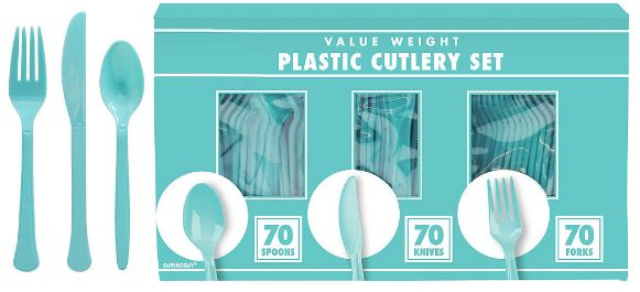 Big Party Pack Robin's-Egg Blue Window Box Cutlery Set, 210ct