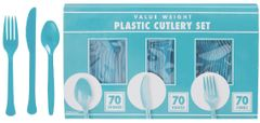 Big Party Pack Caribbean Blue Window Box Cutlery Set, 210ct
