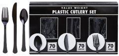 Big Party Pack Black Window Box Cutlery Set, 210ct
