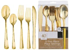 5 Piece Dinner Premium Asst. - Gold, 40ct