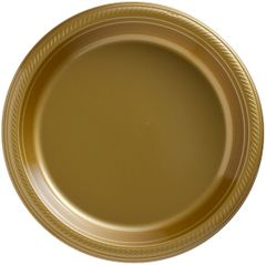 "Big Party Pack Gold Plastic Dinner Plates, 10 1/4"" - 50ct"