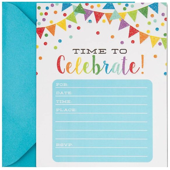 Glitter Rainbow Pennant Invitations, 20ct