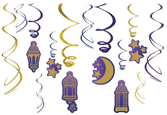 Eid Value Pack Foil Swirl Decorations, 12ct