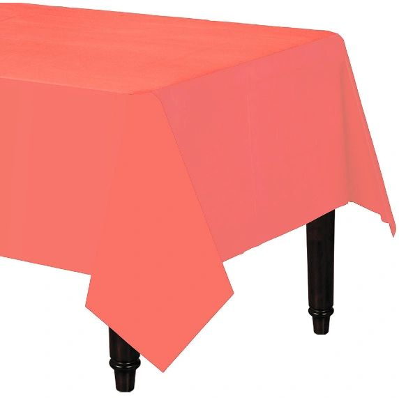 Pantone™ Living Coral Plastic Table Cover