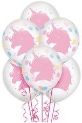 Magical Rainbow Birthday Latex Balloon w/ Confetti, 6ct