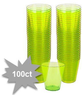 Big Party Pack Kiwi Green Plastic Shot Glasses, 2oz - 100ct