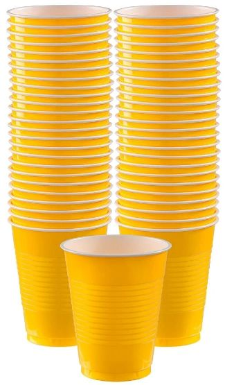 Big Party Pack Yellow Sunshine Plastic Cups, 16 oz - 50ct