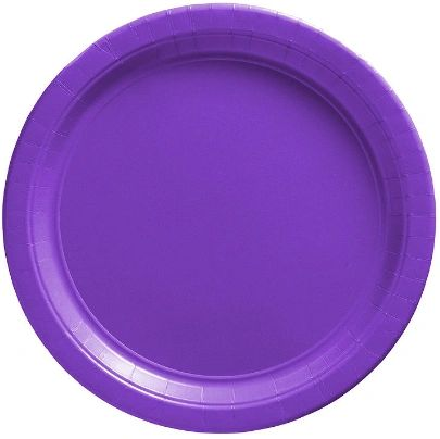 "Big Party Pack New Purple Dessert Paper Plates, 7"" - 50ct"
