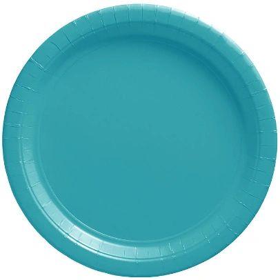 "Big Party Pack Caribbean Blue Dessert Paper Plates, 7"" - 50ct"