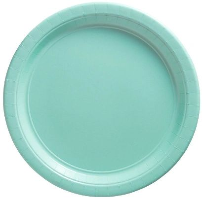 "Big Party Pack Robin's Egg Blue Dessert Paper Plates, 7"" - 50ct"